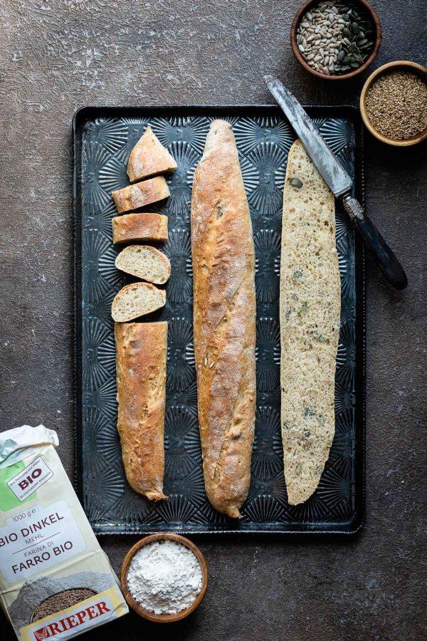 Baguette di farro bio e semi